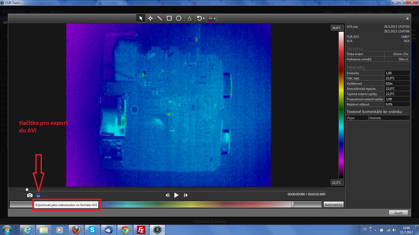 Funkce pro generování AVI souboru ze zaznamenaného radiometrického videa termokamerou FLIR