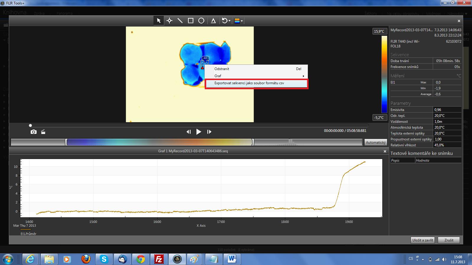 Export celé radiometrické sekvence naměřené termokamerou do Excelu pomocí SW FLIR TOOLS+